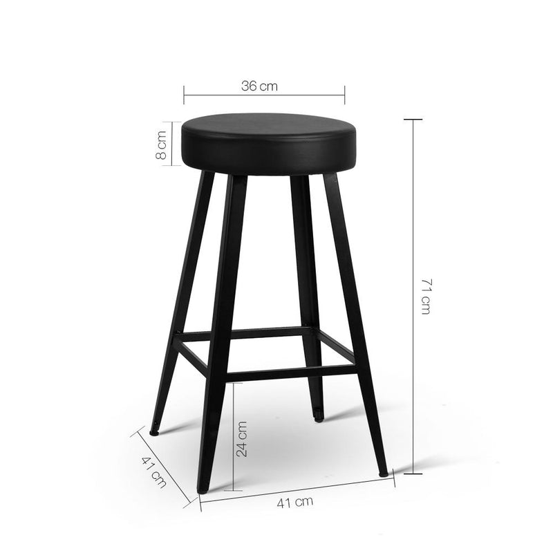 2 X Bar Stool Retro Steel Bar Chair PU Leather Foam Seat 71cm Black