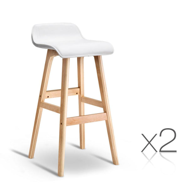 Set of 2 PU Leather and Wood Bar Stool - White