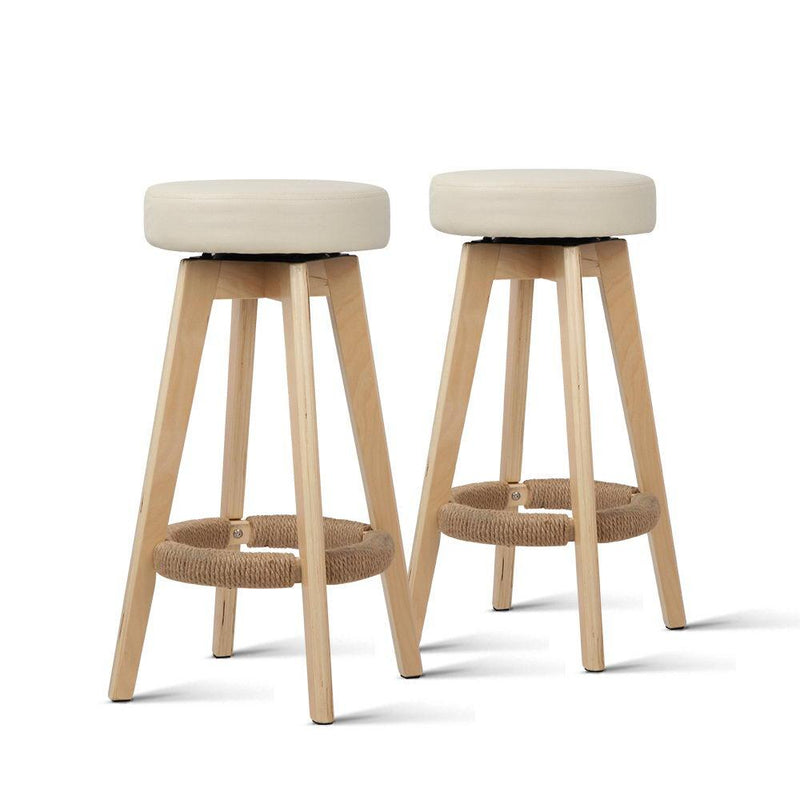 2 X Bar Stool Padded PU Leather Swivel Seat Dining Kitchen In Beige