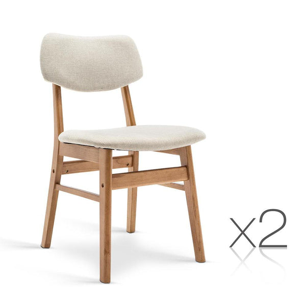 Set of 2 Wood & Fabric Dining Chair - Beige