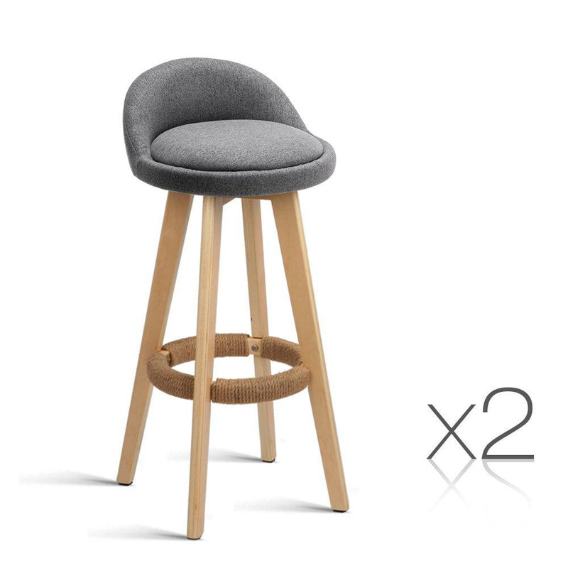 Set of 2 Fabric Bar Stool -Grey