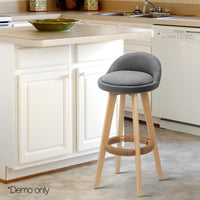 2 X Bar Stool Padded Linen Fabric Seat Dining Kitchen In Grey