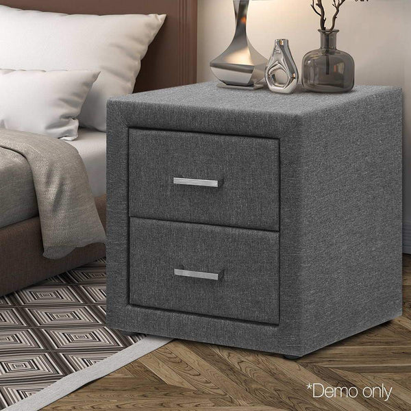 Bedside Table W/ 2 Drawers MDF Frame Fabric Grey