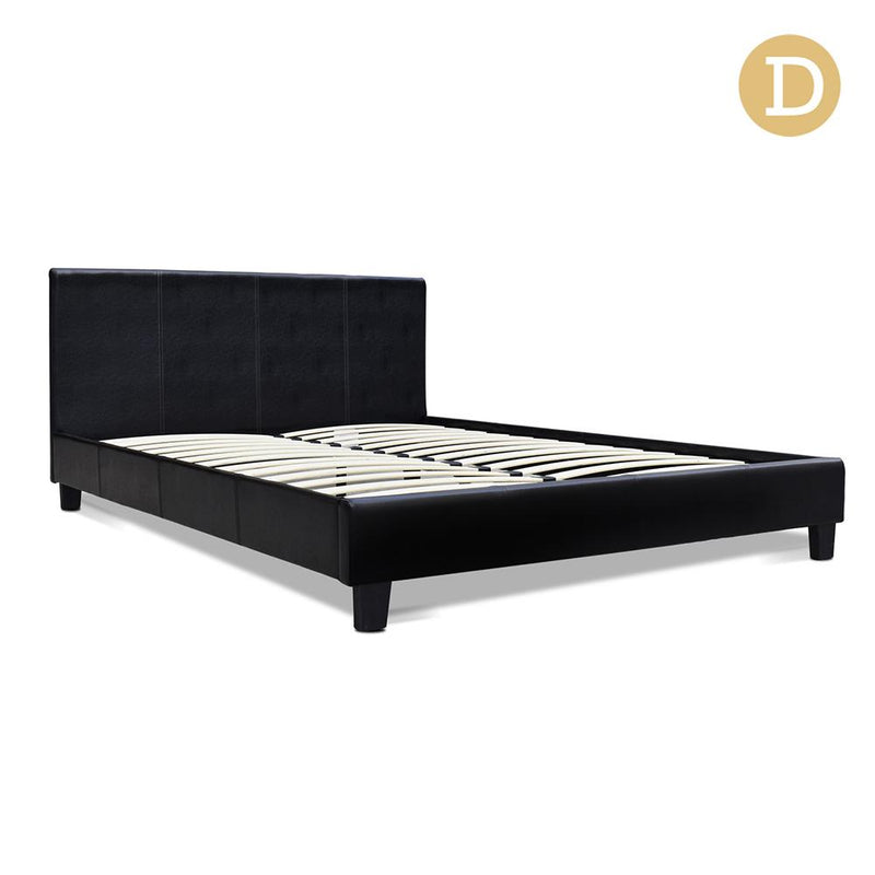 Double Size PU Leather Bed Frame - Black