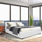Queen Size PU Leather and Wood Bed Frame -White