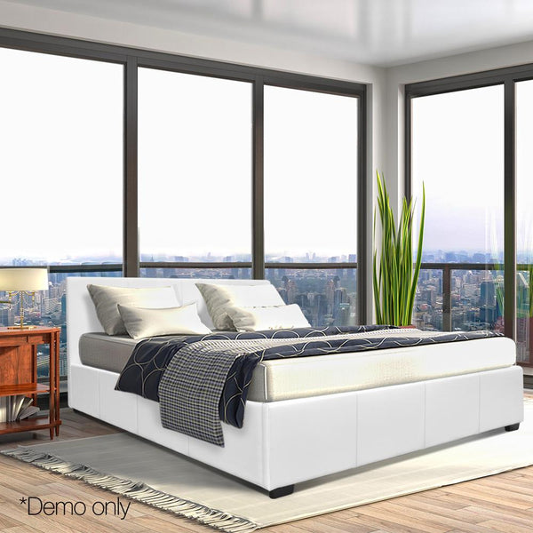 Grace Collection Queen Size PU Leather and Wood Bed Frame -White
