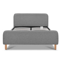 Grace Collection Queen Size Linen Fabric and Wood Bed Frame - Grey