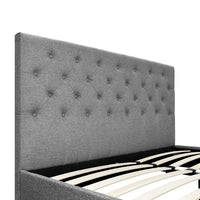 Grace Collection Double Size Tufted Fabric Bed Frame with Headboard Dark Grey