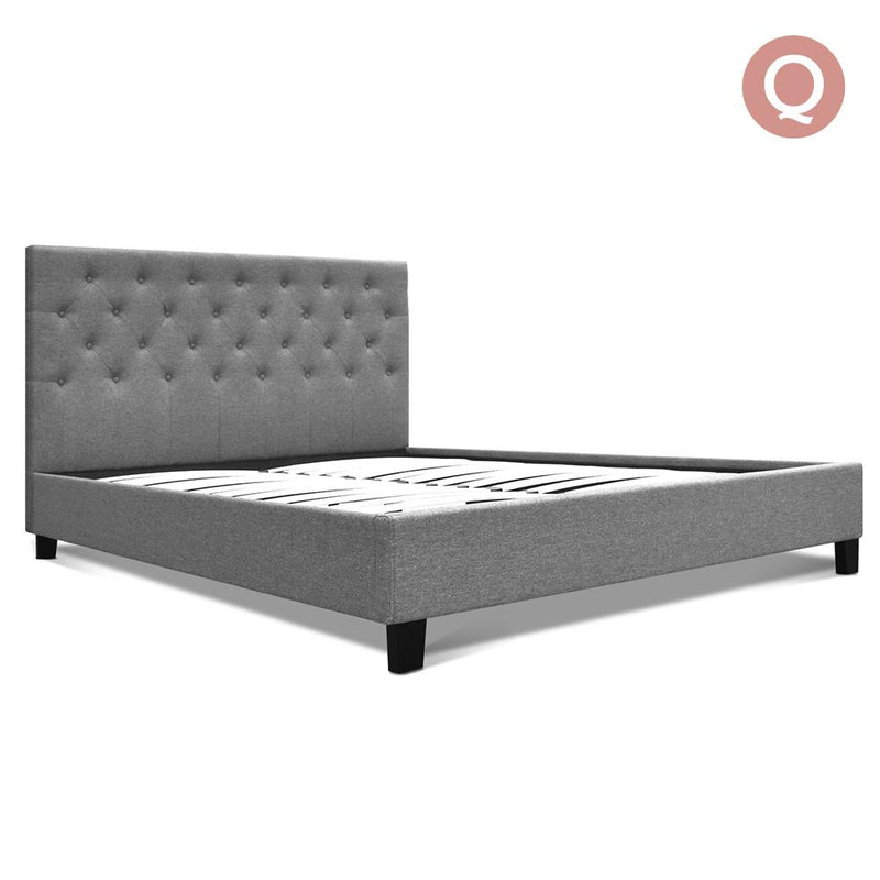 Queen Size Fabric Bed Frame - Grey