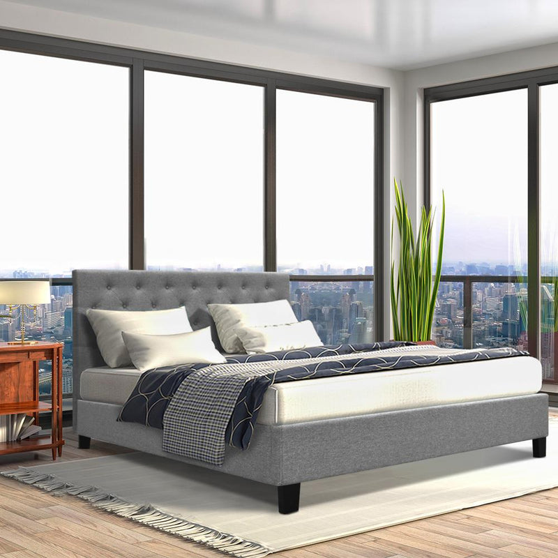 Queen Size Fabric Bed Frame Tall Bed Head 90cm Grey