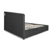 Grace Collection Double Bed Head Frame With 4 Storage Drawers Fabric Wood In Charcoal