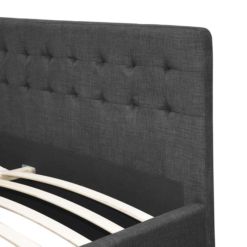 Queen Size Fabric Bed Frame Tall Bed Head 90cm Charcoal