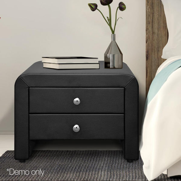 Bedside Table 2 Drawers MDF Frame PU Leather Exterior Black