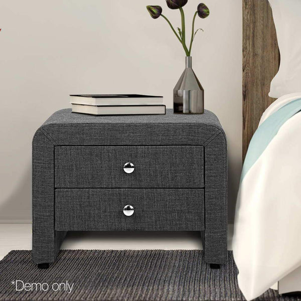 Bedside Table 2 Drawers MDF Frame Linen Fabric Exterior Grey