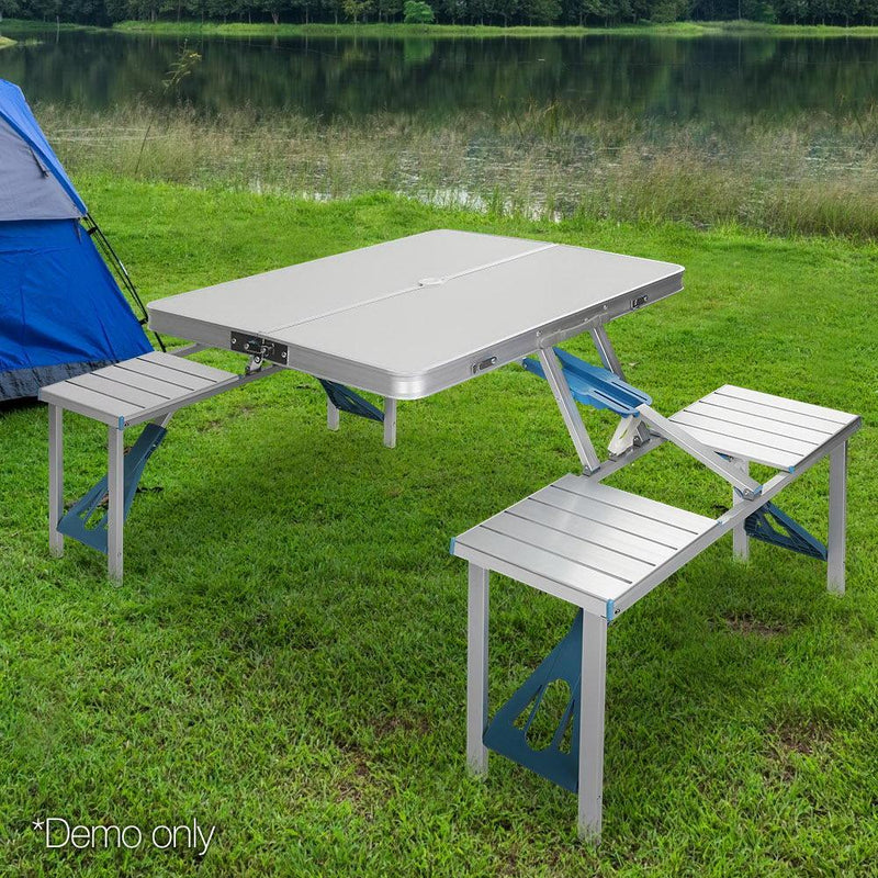 Camping Table Set 85cm W/ 4 Chairs Foldable Aluminium Portable Picnic Outdoor Garden Set
