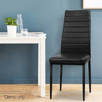 4 X Dining Chair Leather Padded Seat High Back Metal Leg Black