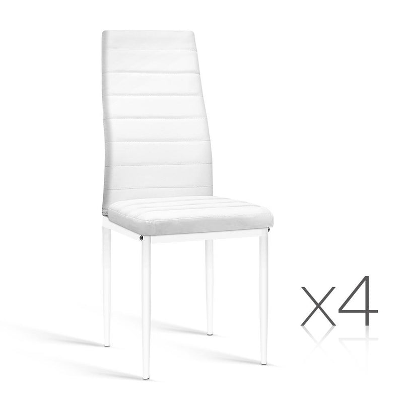Set of 4 Dining Chairs PVC Leather - White
