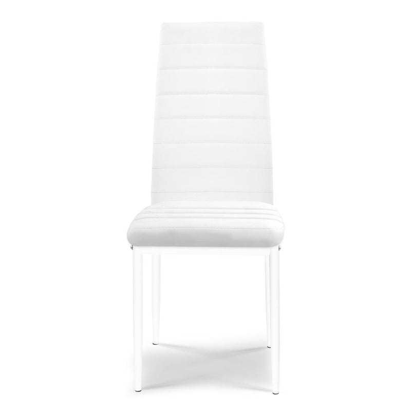 4 X Dining Chair Leather Padded Seat High Back Metal Leg White