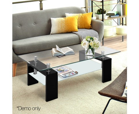 Tempered Glass Coffee Table 2-Tier Black Stainless Steel Storage Shelf