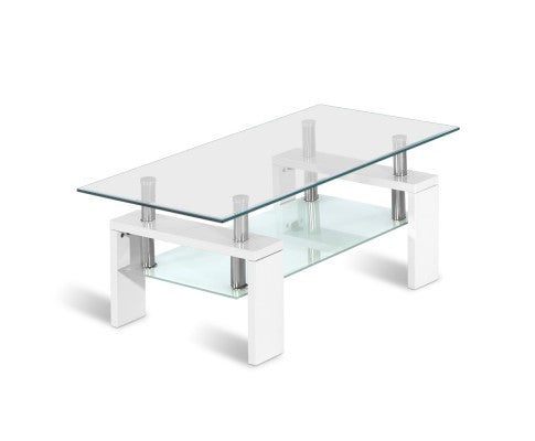 2 Tier Coffee Table Tempered Glass Stainless Steel White