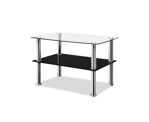 Dumor Coffee Table Side Tables Tempered Glass Stainless Steel Home Bedside