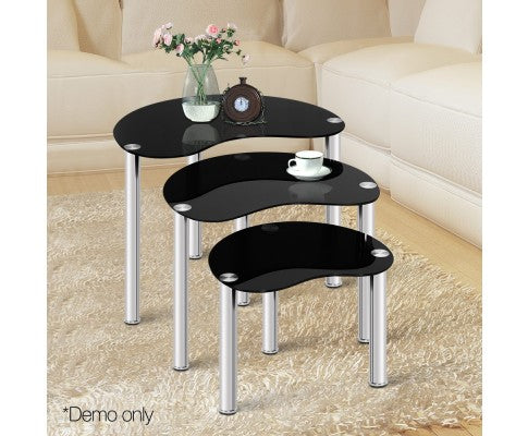 Set Of 3 Nest Of Glass Coffee Tables Black Side Table Stainless Steel Leg