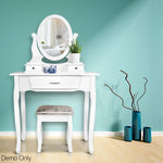 Dressing Table & Stool Mirror Jewellery Cabinet 3 Drawers Organiser White