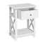 Wooden Bedside Table with Cabient Drawer - White