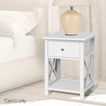 Wooden Bedside Table with Cabinet Drawer - White