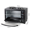 45L Electric Compact Convection Oven W/ Two Hot Plates Rotisserie Timer Black
