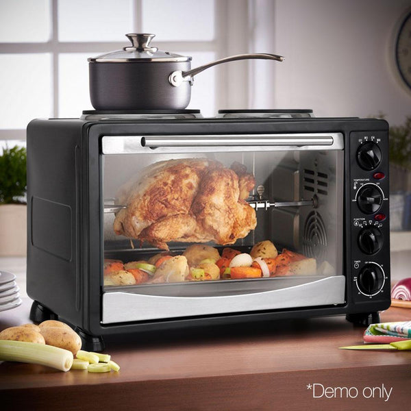 34L Electric Compact Convection Oven W/ Two Hot Plates Rotisserie Timer Black