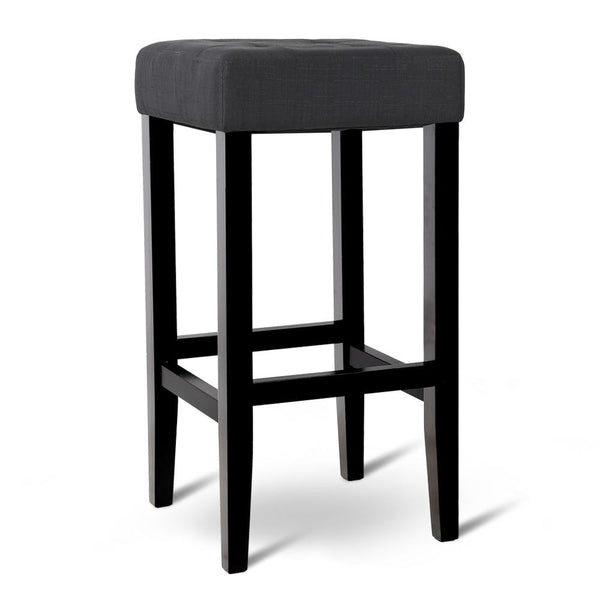 Set of 2 Wooden Fabric Barstools - Charcoal