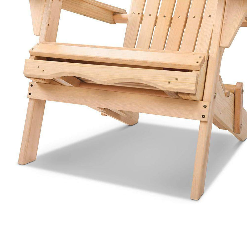 Adirondack Style Chair Footrest Cape Cod Wooden Outdoor Furniture Foldable Beige Natural
