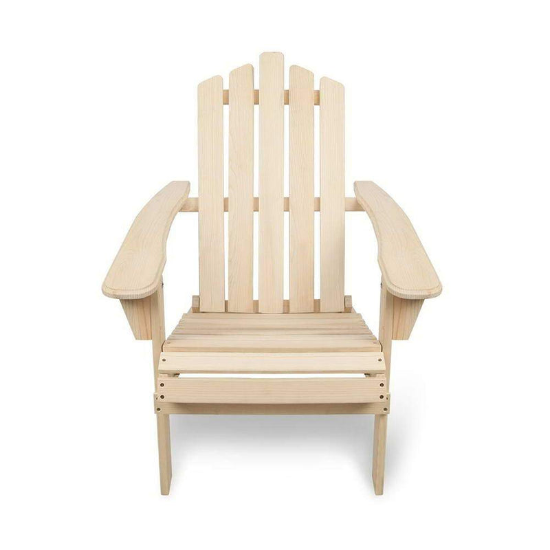 Adirondack Style Chair W/ Footstool Cape Cod Wooden Outdoor Furniture Foldable Natural