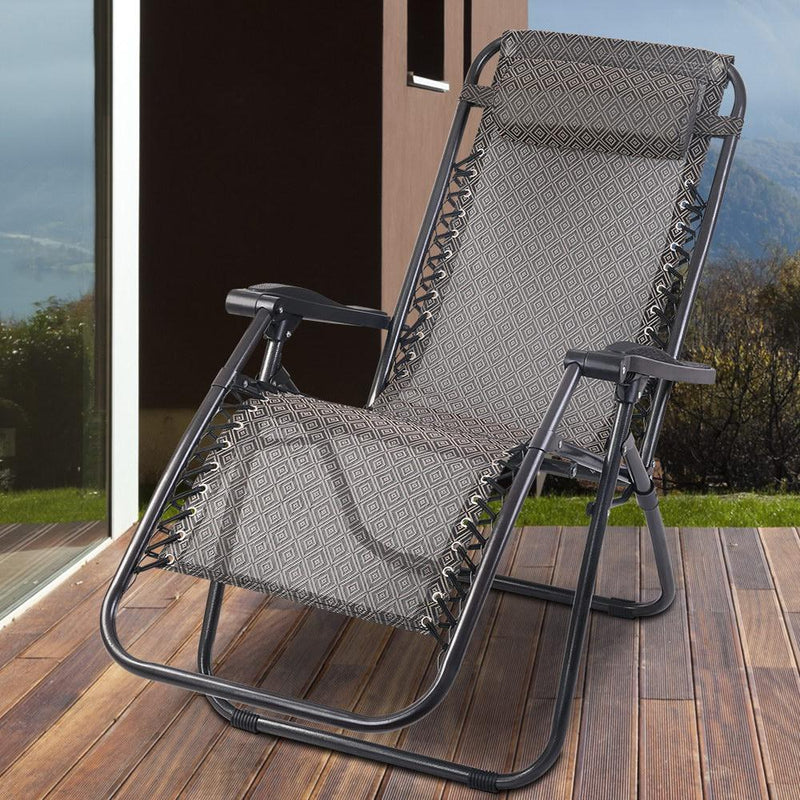 Zero Gravity Reclining Lounge Chair Foldable Portable Outdoor Chaise Light Grey