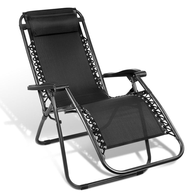Outdoor Portable Zero Gravity Reclining Chair - Black