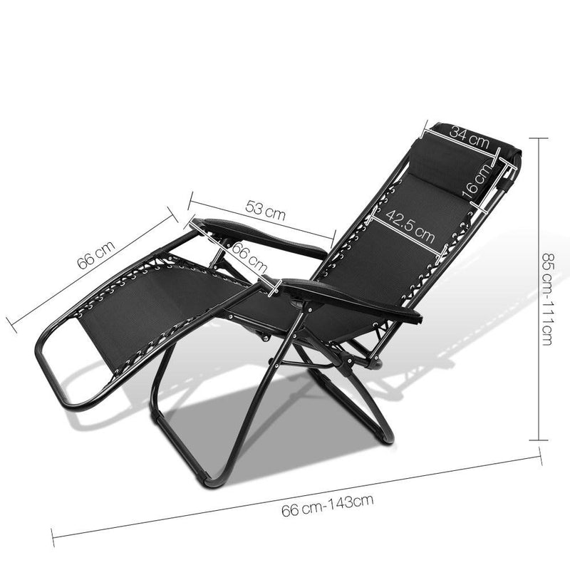 Zero Gravity Reclining Lounge Chair Portable Foldable Outdoor Chaise Black
