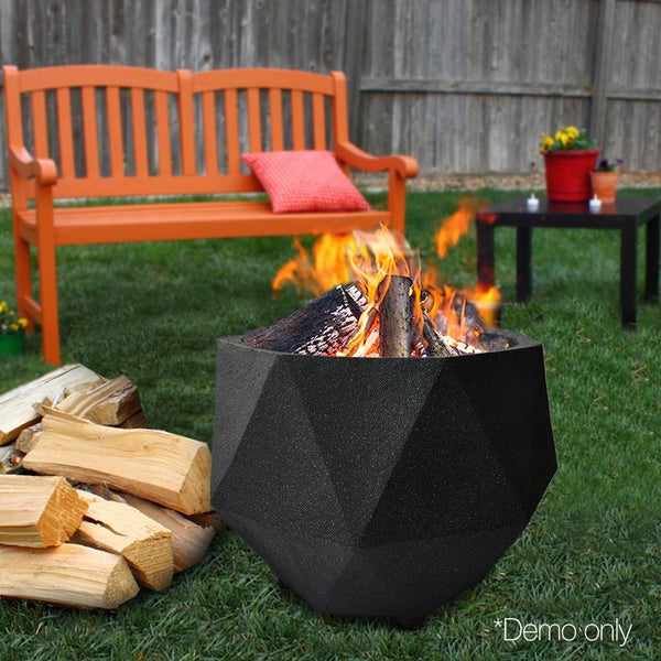 Outdoor Cement Fire Pit Portable Octagonal Heater Patio Fireplace