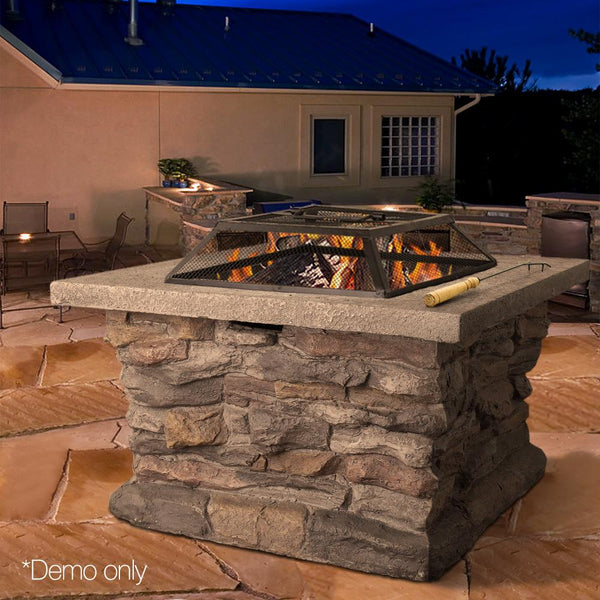 Outdoor Faux Stone Fire Pit Rustic Fireplace Heater Garden Patio