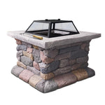 Outdoor Faux Stone Fire Pit Table