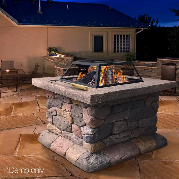 Outdoor Faux Stone Fire Pit Table Garden Patio Heater Fireplace