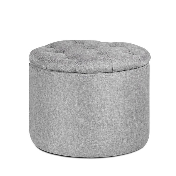 Pine Wood Ottoman Footstool with Storage - Light Grey
