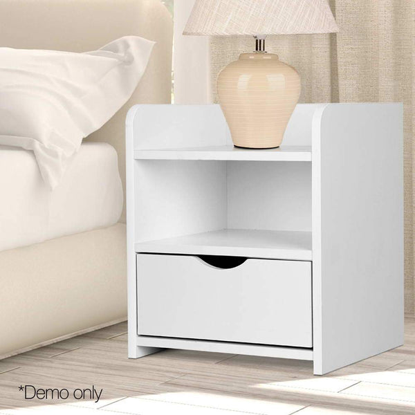 Bedside Table Bedroom Storage Cabinet W/ Drawer And Shelf White