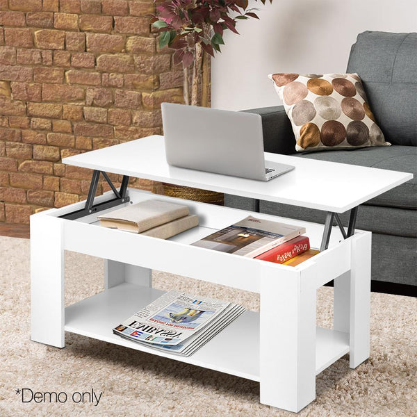 Coffee Table With Lift-Top Convertible Mechanical Tabletop Hidden Storage White