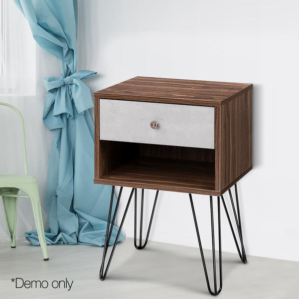 Bedside Drawer Bedside Table W/ Metal Wire Legs Grey And Walnut
