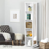 Rotating 5 Shelf Cabinet Swivel Storage Bookcase Shoe Rack 160cm With Mirror And Corkboard Panel White