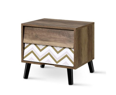 Bedside Tables 2 Drawers Table Storage Nightstand Cabinet Lamp Side Wood