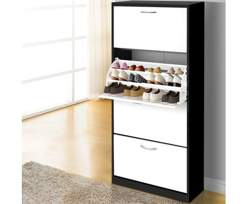 Wooden Shoe Organizer Cabinet For 48 Pairs W/ 4 Drawers In Black & White