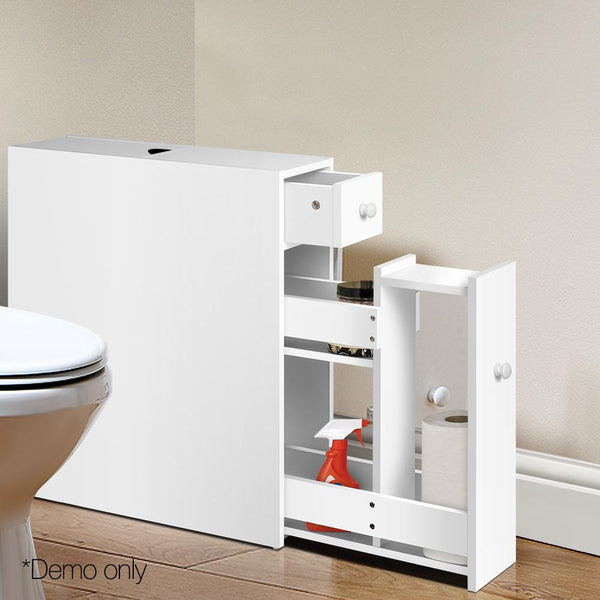Slimline Bathroom Storage Cabinet Toiletries Cupboard Utility Caddy White