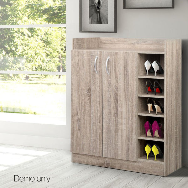 Shoe Organizer Cabinet For 21 Pairs W/ 2 Doors 5 Shelves Wood